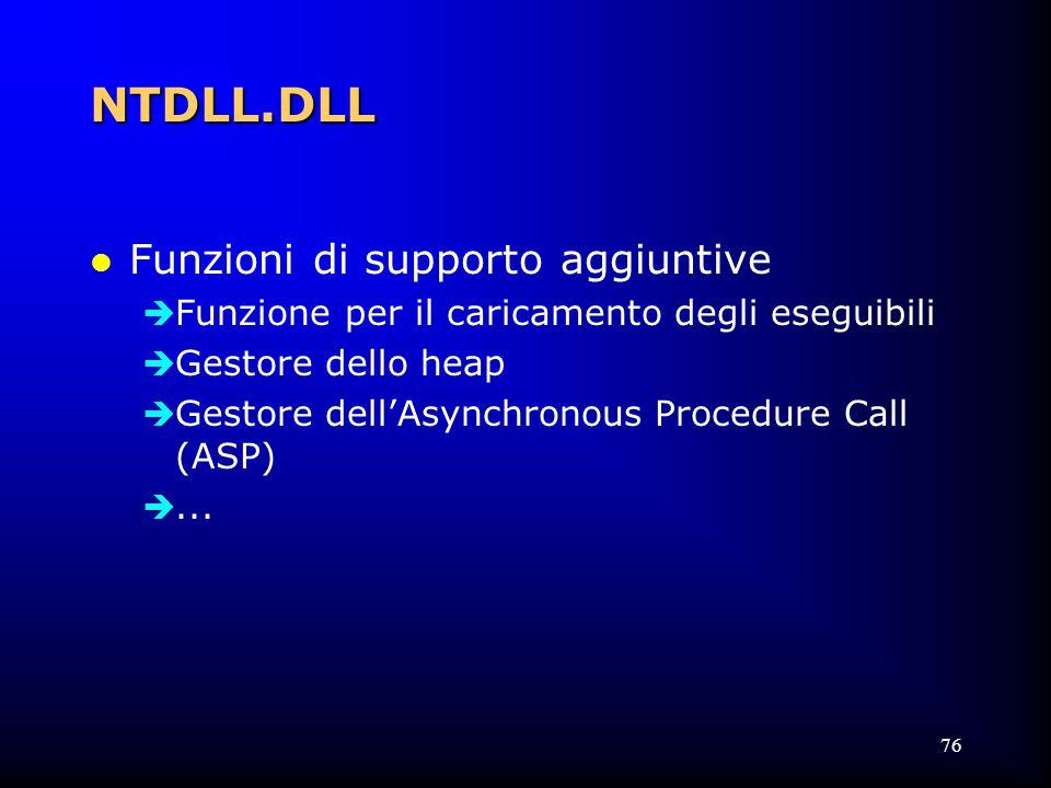 76 NTDLL.DLL l Funzioni di supporto aggiuntive  Funzione per il caricamento degli eseguibili  Gestore dello heap  Gestore dell'Asynchronous Procedure Call (ASP) ...