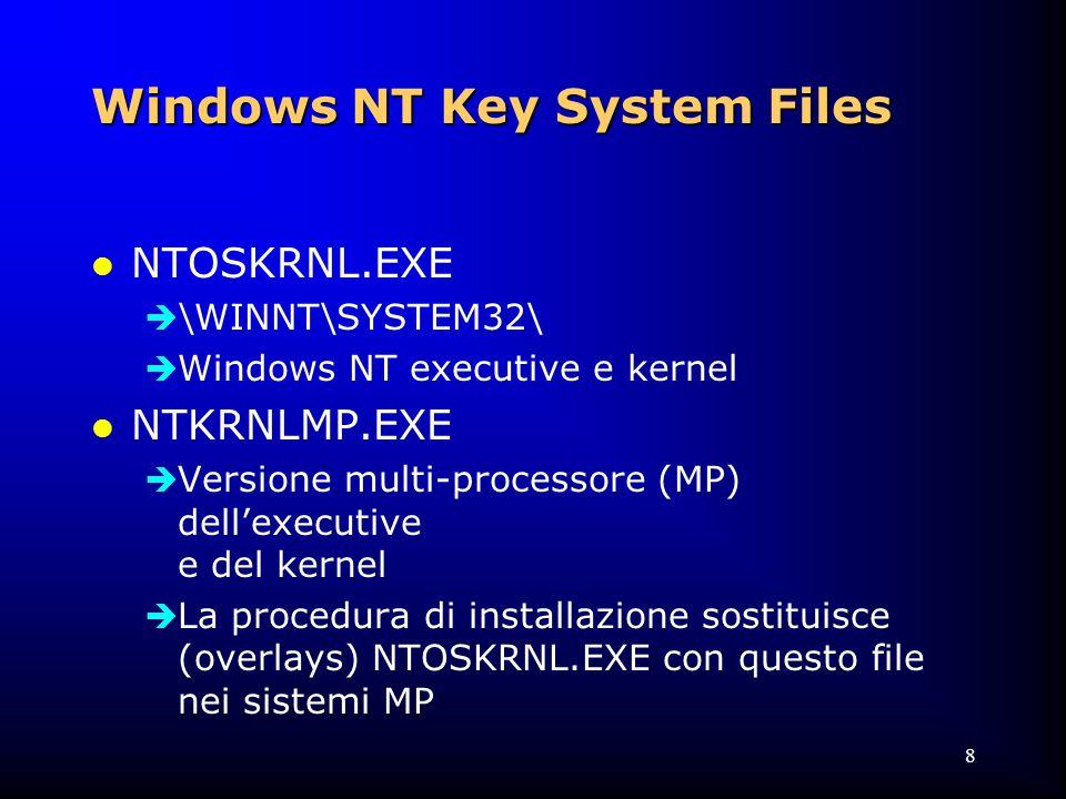 9 Windows NT Key System Files l UPTOMP.EXE  \NTRESKIT\  Strumento per convertire un'installazione mono-processore in una multi-processore l XXXDRIVER.SYS  \WINNT\SYSTEM32\DRIVERS\  Una sola versione indipendentemente dall'HAL