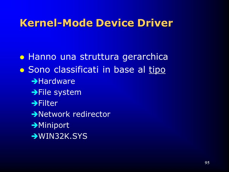95 Kernel-Mode Device Driver l Hanno una struttura gerarchica l Sono classificati in base al tipo  Hardware  File system  Filter  Network redirector  Miniport  WIN32K.SYS