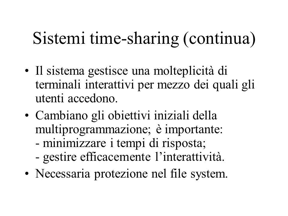 Sistemi time-sharing (continua) Il sistema gestisce una molteplicità di terminali interattivi per mezzo dei quali gli utenti accedono. Cambiano gli ob
