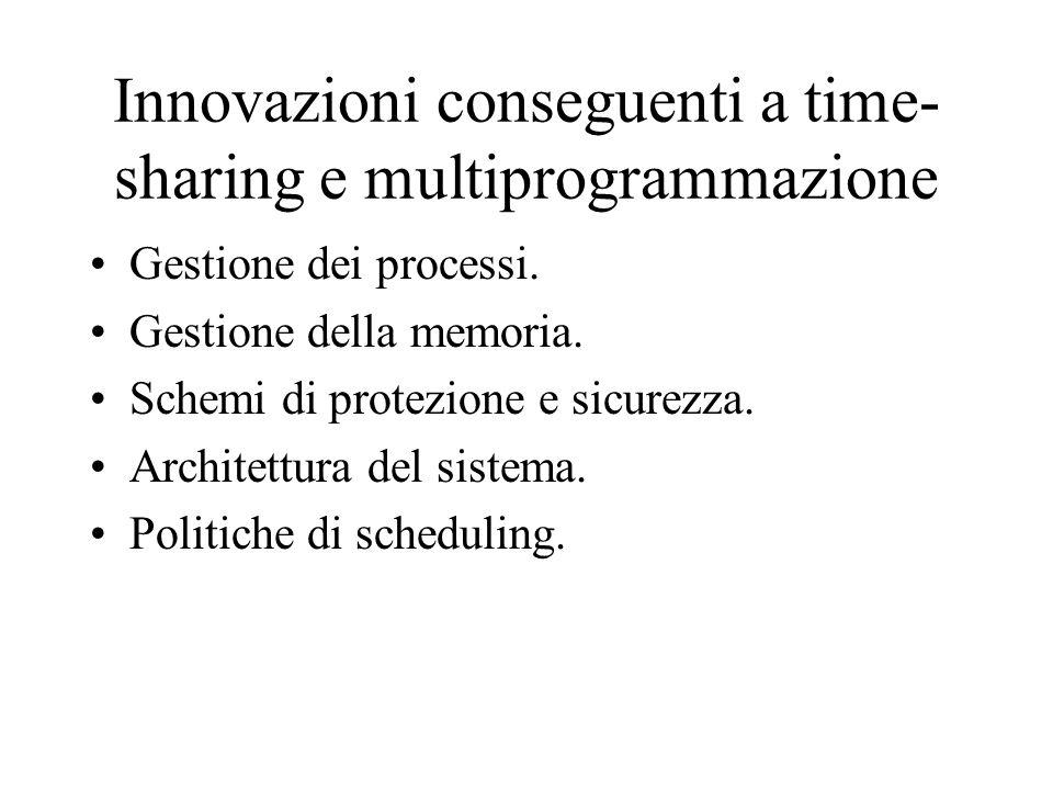Innovazioni conseguenti a time- sharing e multiprogrammazione Gestione dei processi. Gestione della memoria. Schemi di protezione e sicurezza. Archite
