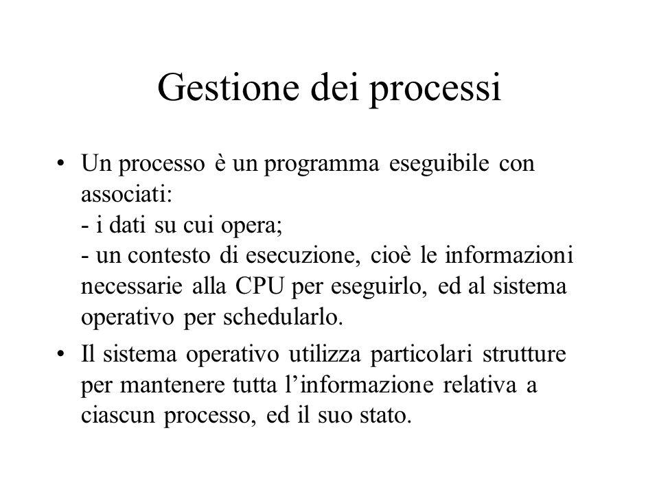Gestione dei processi Un processo è un programma eseguibile con associati: - i dati su cui opera; - un contesto di esecuzione, cioè le informazioni ne