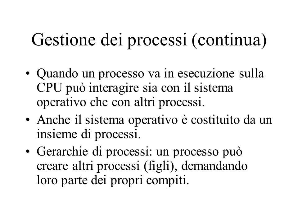 Gestione dei processi (continua) Quando un processo va in esecuzione sulla CPU può interagire sia con il sistema operativo che con altri processi. Anc