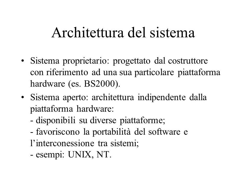 Architettura del sistema Sistema proprietario: progettato dal costruttore con riferimento ad una sua particolare piattaforma hardware (es. BS2000). Si