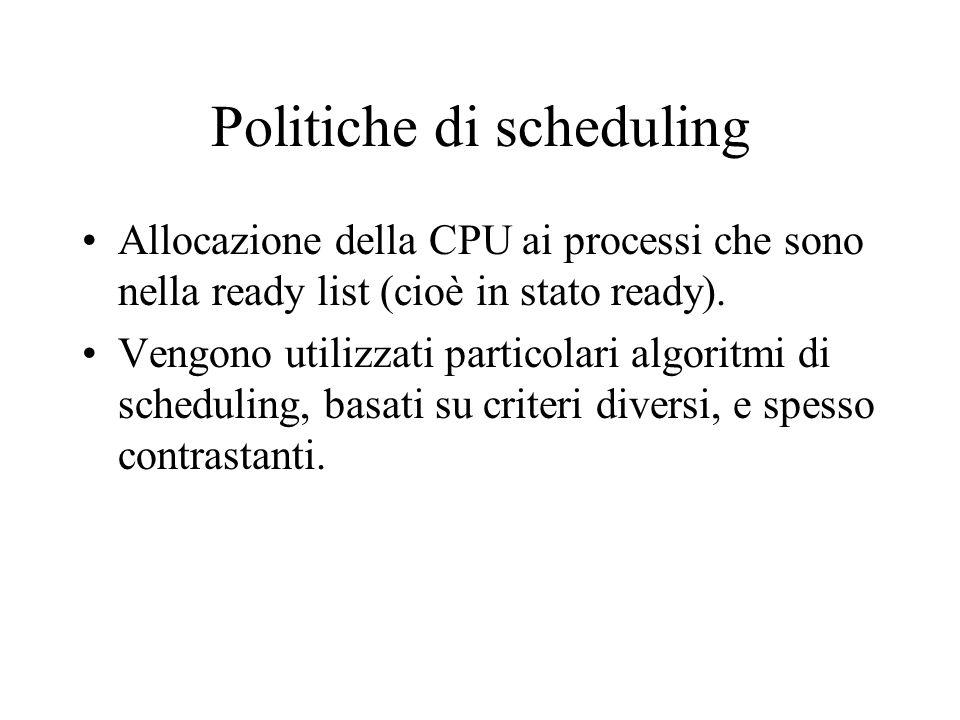 Politiche di scheduling Allocazione della CPU ai processi che sono nella ready list (cioè in stato ready). Vengono utilizzati particolari algoritmi di