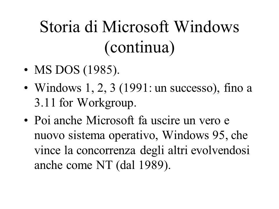 Storia di Microsoft Windows (continua) MS DOS (1985). Windows 1, 2, 3 (1991: un successo), fino a 3.11 for Workgroup. Poi anche Microsoft fa uscire un