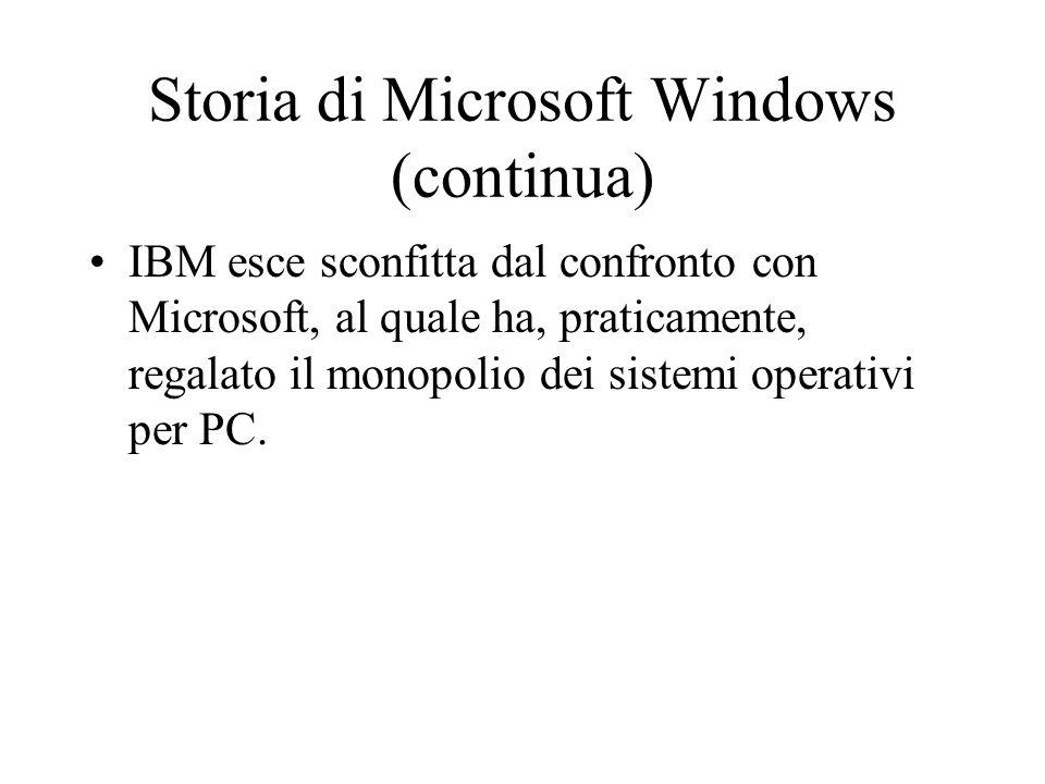 Storia di Microsoft Windows (continua) IBM esce sconfitta dal confronto con Microsoft, al quale ha, praticamente, regalato il monopolio dei sistemi op