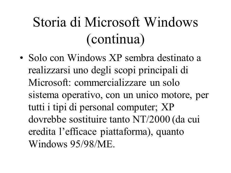 Storia di Microsoft Windows (continua) Solo con Windows XP sembra destinato a realizzarsi uno degli scopi principali di Microsoft: commercializzare un