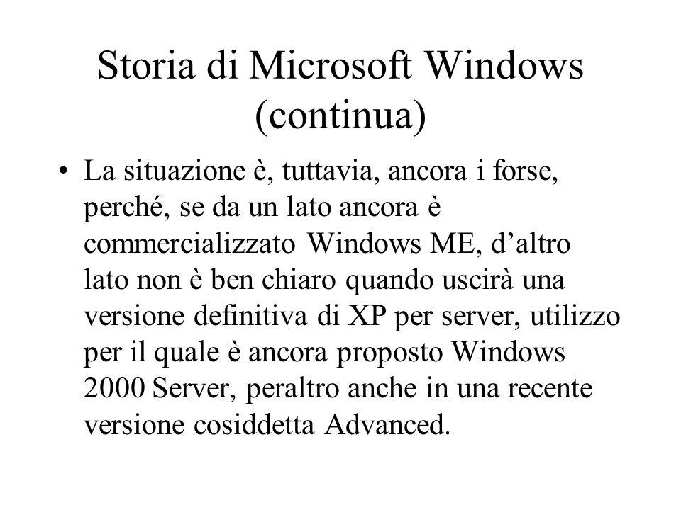 Storia di Microsoft Windows (continua) La situazione è, tuttavia, ancora i forse, perché, se da un lato ancora è commercializzato Windows ME, d'altro
