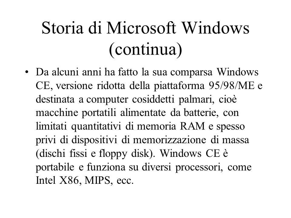 Storia di Microsoft Windows (continua) Da alcuni anni ha fatto la sua comparsa Windows CE, versione ridotta della piattaforma 95/98/ME e destinata a c