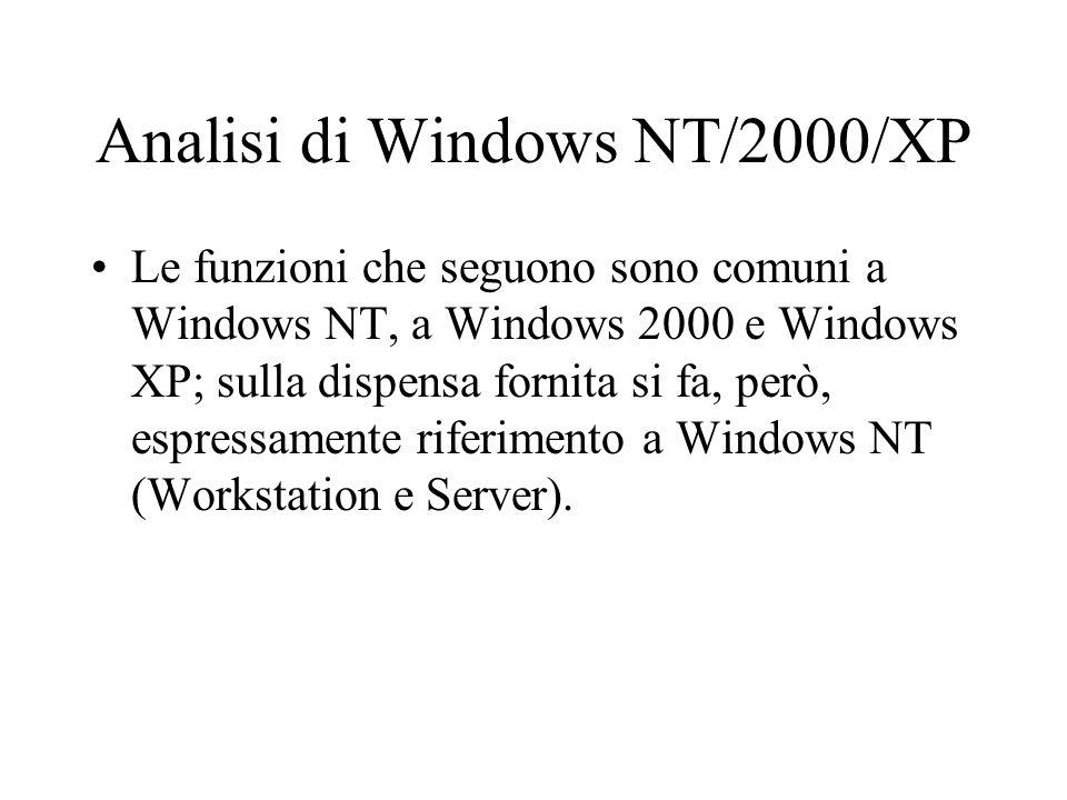 Analisi di Windows NT/2000/XP Le funzioni che seguono sono comuni a Windows NT, a Windows 2000 e Windows XP; sulla dispensa fornita si fa, però, espre