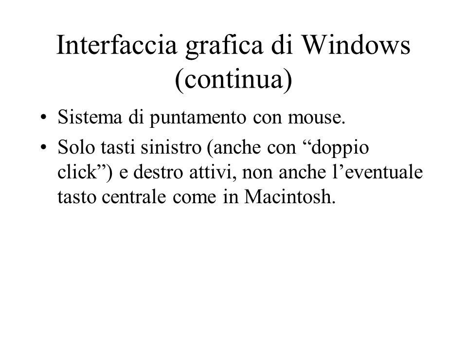 """Interfaccia grafica di Windows (continua) Sistema di puntamento con mouse. Solo tasti sinistro (anche con """"doppio click"""") e destro attivi, non anche l"""