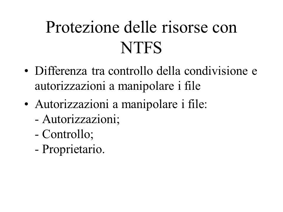 Protezione delle risorse con NTFS Differenza tra controllo della condivisione e autorizzazioni a manipolare i file Autorizzazioni a manipolare i file:
