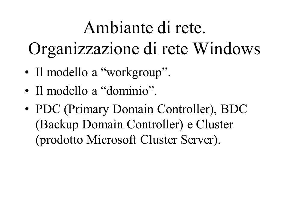 """Ambiante di rete. Organizzazione di rete Windows Il modello a """"workgroup"""". Il modello a """"dominio"""". PDC (Primary Domain Controller), BDC (Backup Domain"""