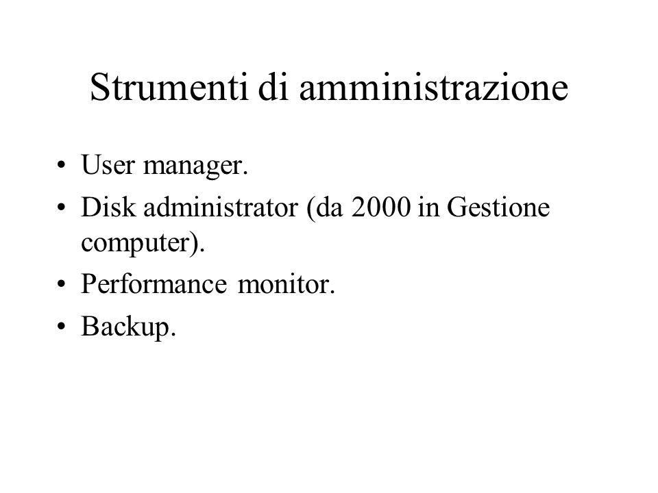 Strumenti di amministrazione User manager. Disk administrator (da 2000 in Gestione computer). Performance monitor. Backup.