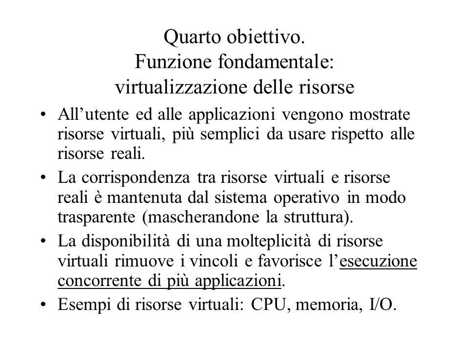 Quarto obiettivo. Funzione fondamentale: virtualizzazione delle risorse All'utente ed alle applicazioni vengono mostrate risorse virtuali, più semplic