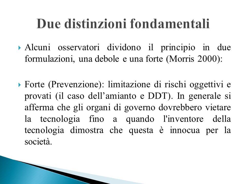  Alcuni osservatori dividono il principio in due formulazioni, una debole e una forte (Morris 2000):  Forte (Prevenzione): limitazione di rischi oggettivi e provati (il caso dell'amianto e DDT).