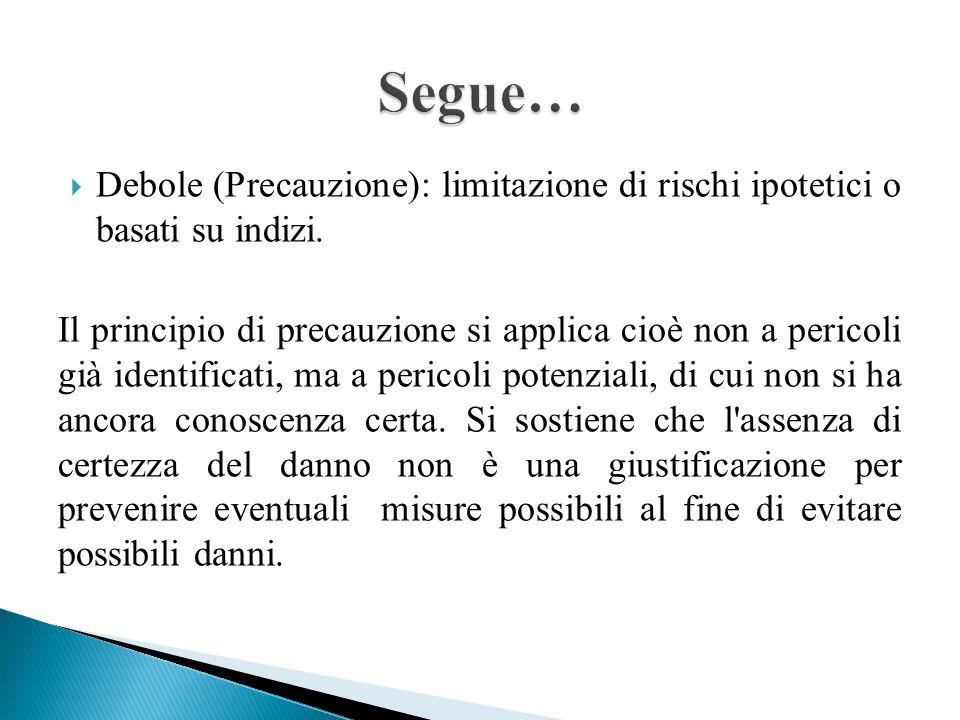  Debole (Precauzione): limitazione di rischi ipotetici o basati su indizi.