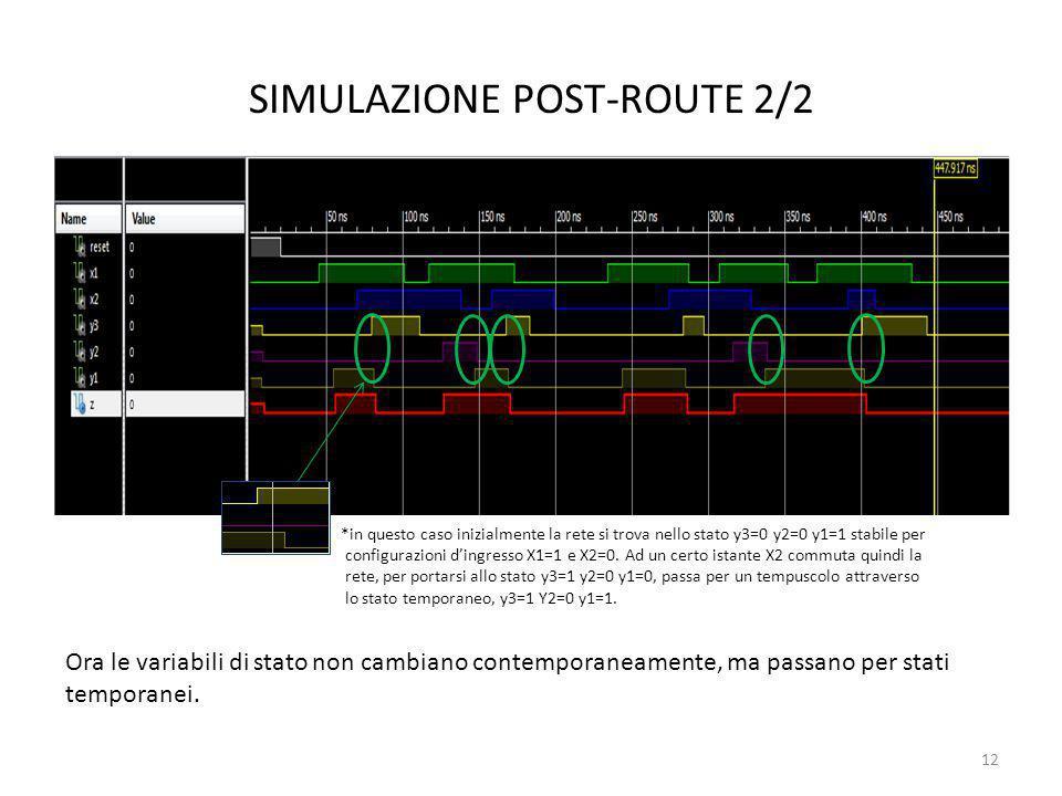 SIMULAZIONE POST-ROUTE 2/2 12 Ora le variabili di stato non cambiano contemporaneamente, ma passano per stati temporanei. *in questo caso inizialmente