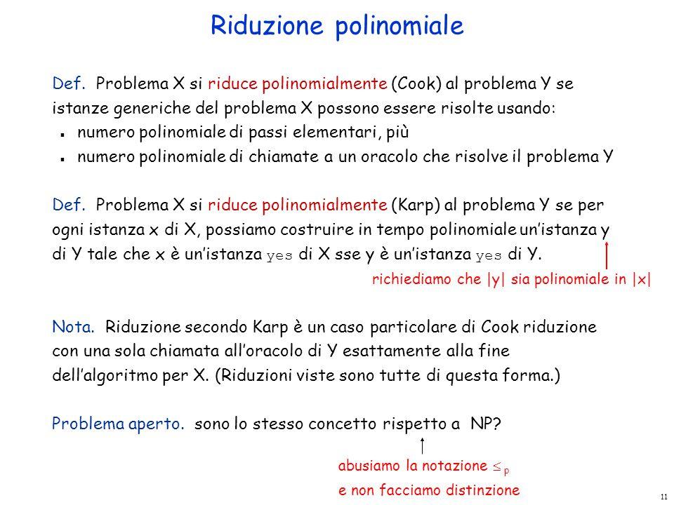 11 Riduzione polinomiale Def. Problema X si riduce polinomialmente (Cook) al problema Y se istanze generiche del problema X possono essere risolte usa