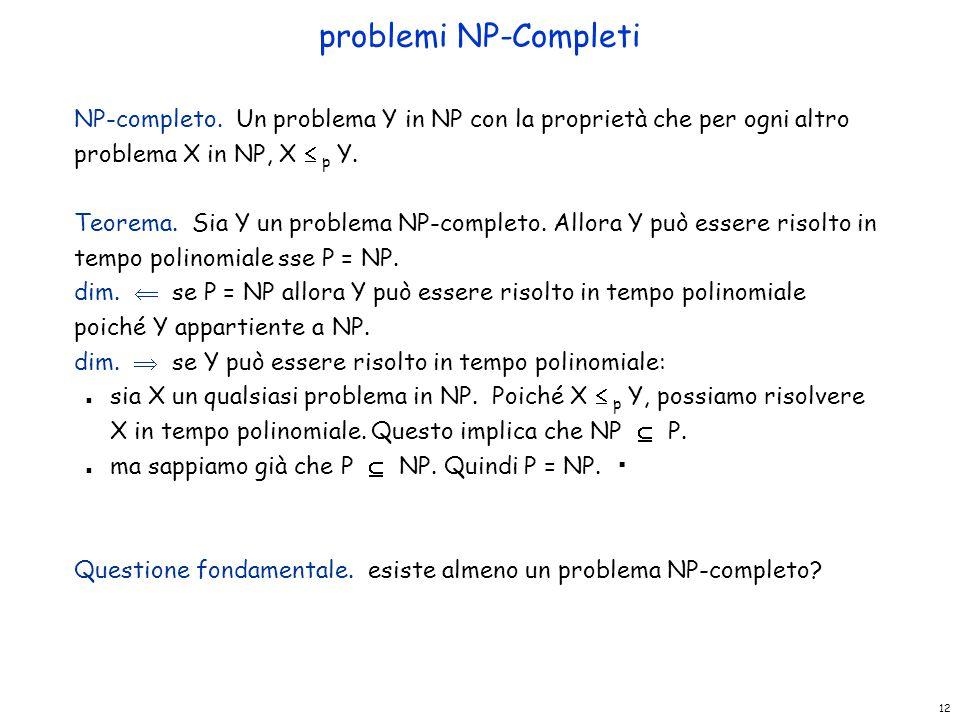 12 problemi NP-Completi NP-completo. Un problema Y in NP con la proprietà che per ogni altro problema X in NP, X  p Y. Teorema. Sia Y un problema NP-