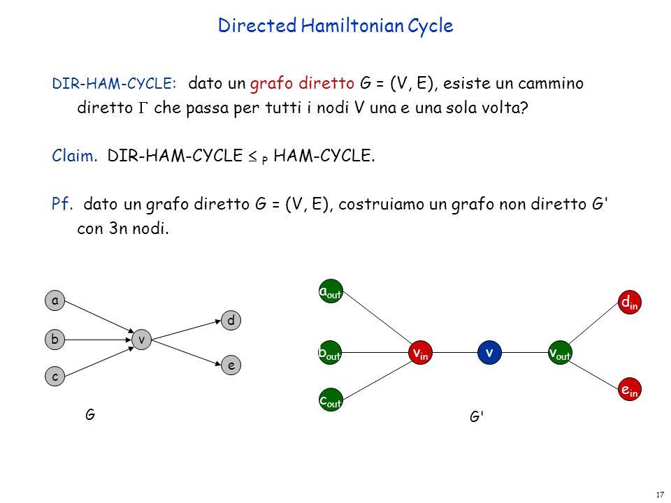 17 Directed Hamiltonian Cycle DIR-HAM-CYCLE : dato un grafo diretto G = (V, E), esiste un cammino diretto  che passa per tutti i nodi V una e una sol