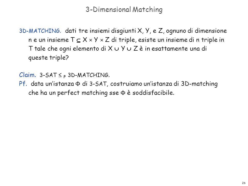 26 3-Dimensional Matching 3D-MATCHING. dati tre insiemi disgiunti X, Y, e Z, ognuno di dimensione n e un insieme T  X  Y  Z di triple, esiste un in