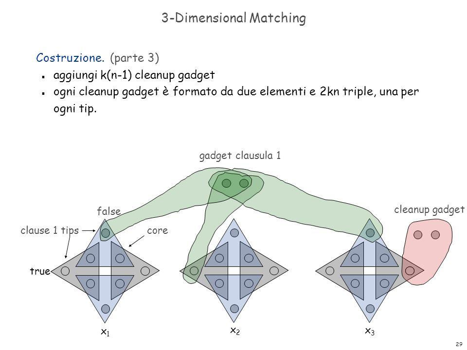 29 3-Dimensional Matching Costruzione. (parte 3) n aggiungi k(n-1) cleanup gadget n ogni cleanup gadget è formato da due elementi e 2kn triple, una pe