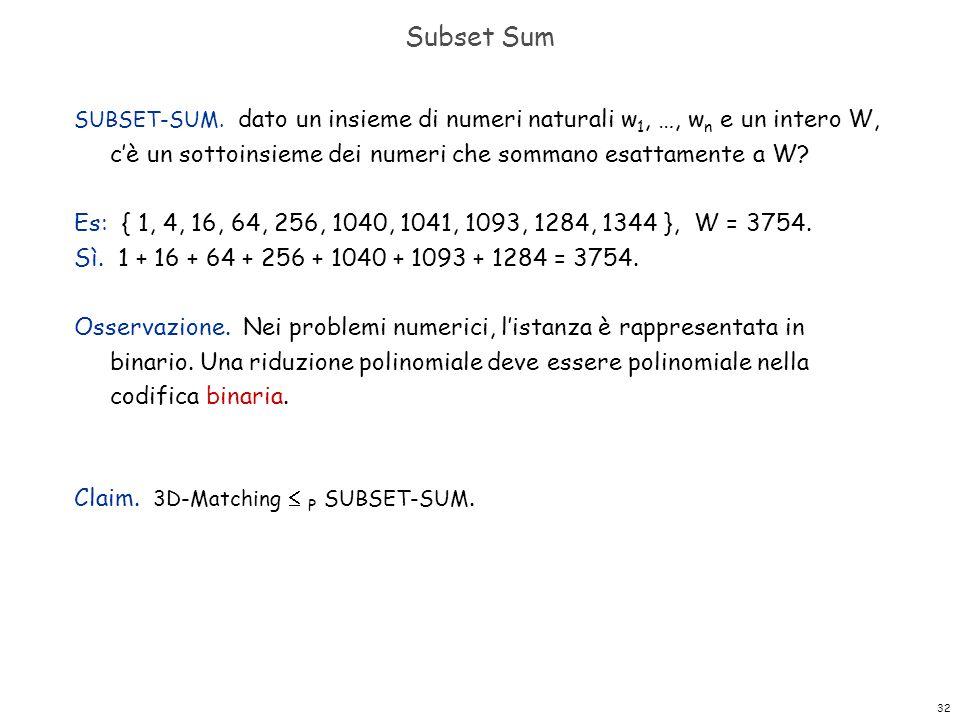 32 Subset Sum SUBSET-SUM. dato un insieme di numeri naturali w 1, …, w n e un intero W, c'è un sottoinsieme dei numeri che sommano esattamente a W? Es