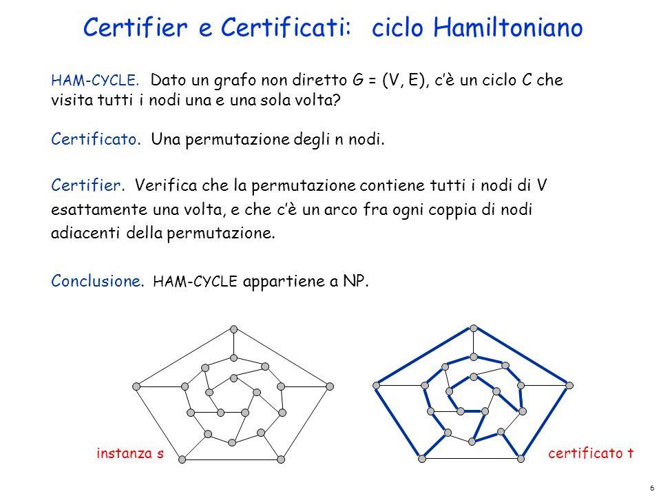 6 HAM-CYCLE. Dato un grafo non diretto G = (V, E), c'è un ciclo C che visita tutti i nodi una e una sola volta? Certificato. Una permutazione degli n