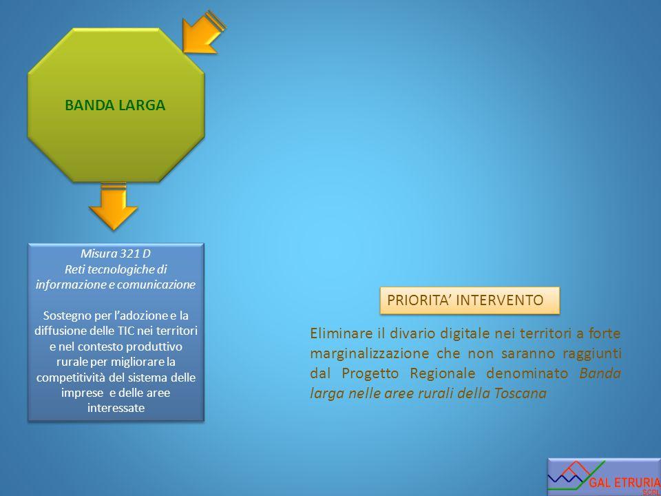 BANDA LARGA PRIORITA' INTERVENTO Eliminare il divario digitale nei territori a forte marginalizzazione che non saranno raggiunti dal Progetto Regional
