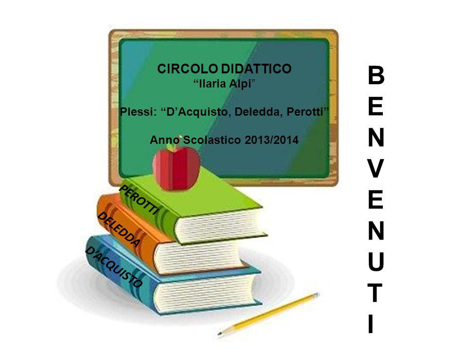 DELEDDA PEROTTI D'ACQUISTO PEROTTI DELEDDA D'ACQUISTO BENVENUTIBENVENUTI CIRCOLO DIDATTICO Ilaria Alpi Plessi: D'Acquisto, Deledda, Perotti Anno Scolastico 2013/2014