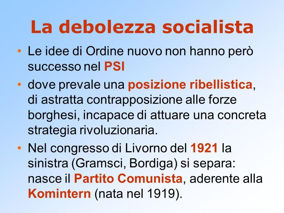 La debolezza socialista Le idee di Ordine nuovo non hanno però successo nel PSI dove prevale una posizione ribellistica, di astratta contrapposizione alle forze borghesi, incapace di attuare una concreta strategia rivoluzionaria.