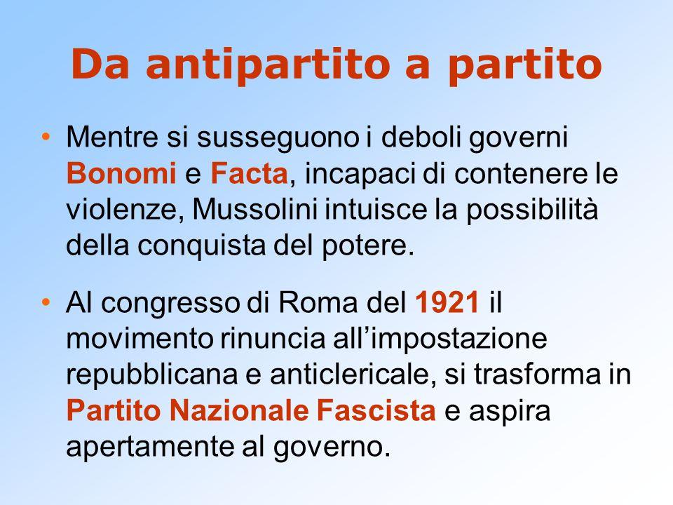 Da antipartito a partito Mentre si susseguono i deboli governi Bonomi e Facta, incapaci di contenere le violenze, Mussolini intuisce la possibilità della conquista del potere.