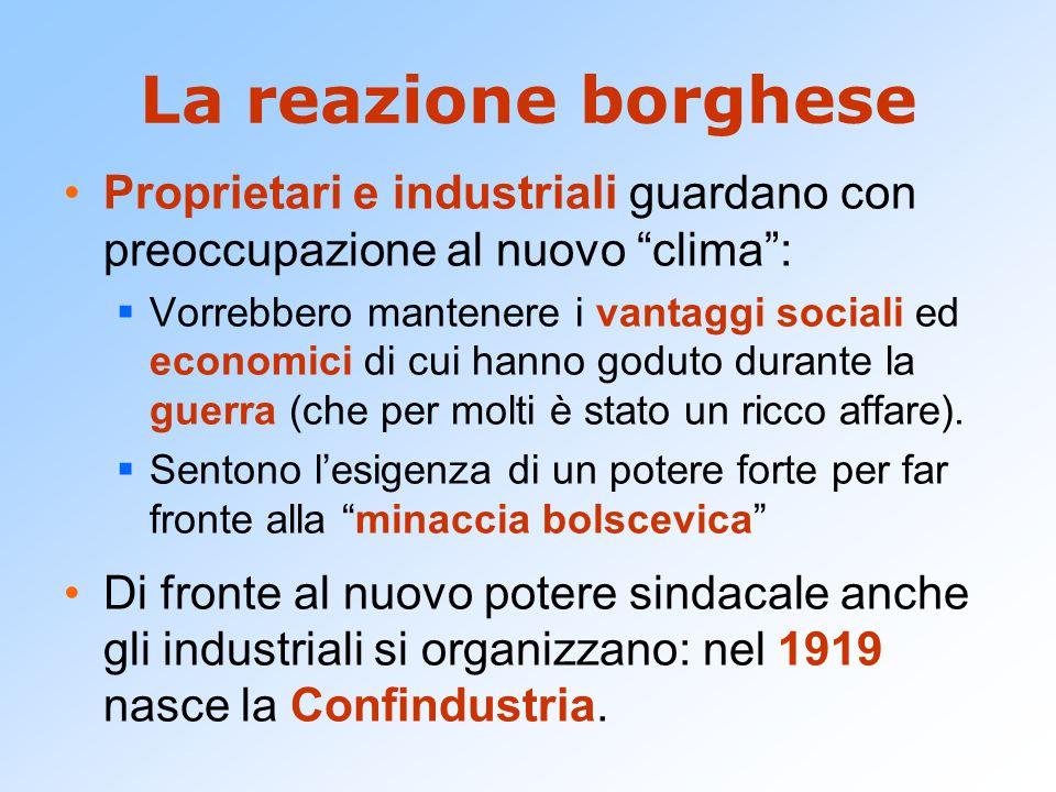 La reazione borghese Proprietari e industriali guardano con preoccupazione al nuovo clima :  Vorrebbero mantenere i vantaggi sociali ed economici di cui hanno goduto durante la guerra (che per molti è stato un ricco affare).