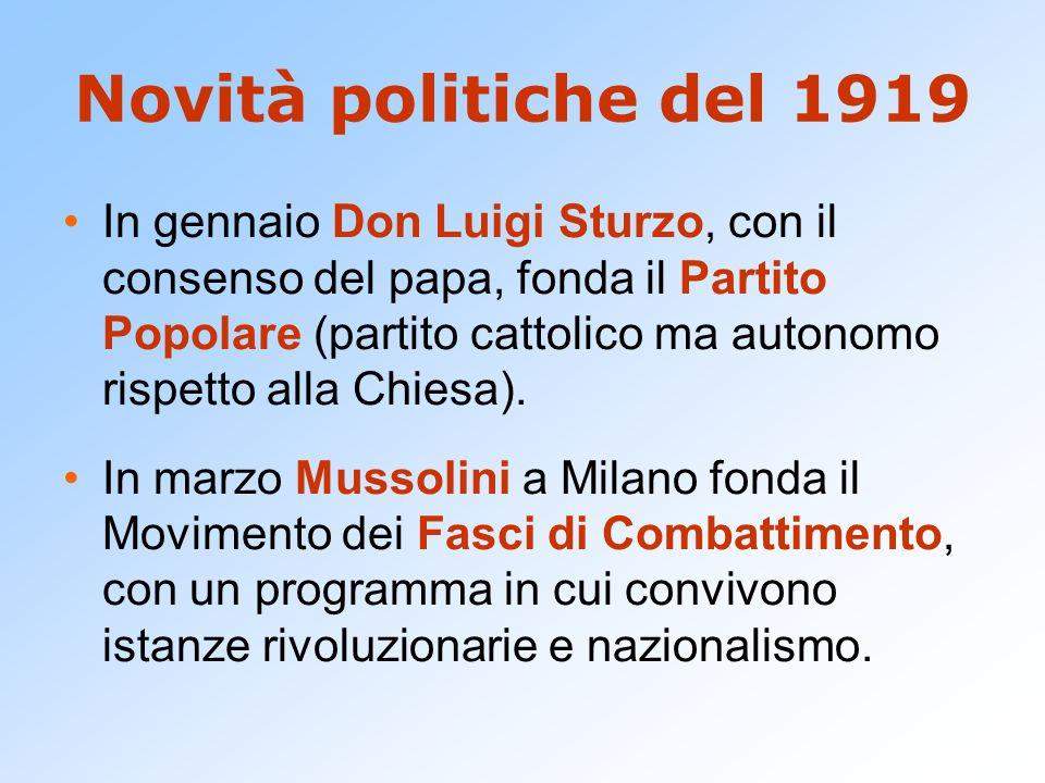Novità politiche del 1919 In gennaio Don Luigi Sturzo, con il consenso del papa, fonda il Partito Popolare (partito cattolico ma autonomo rispetto alla Chiesa).