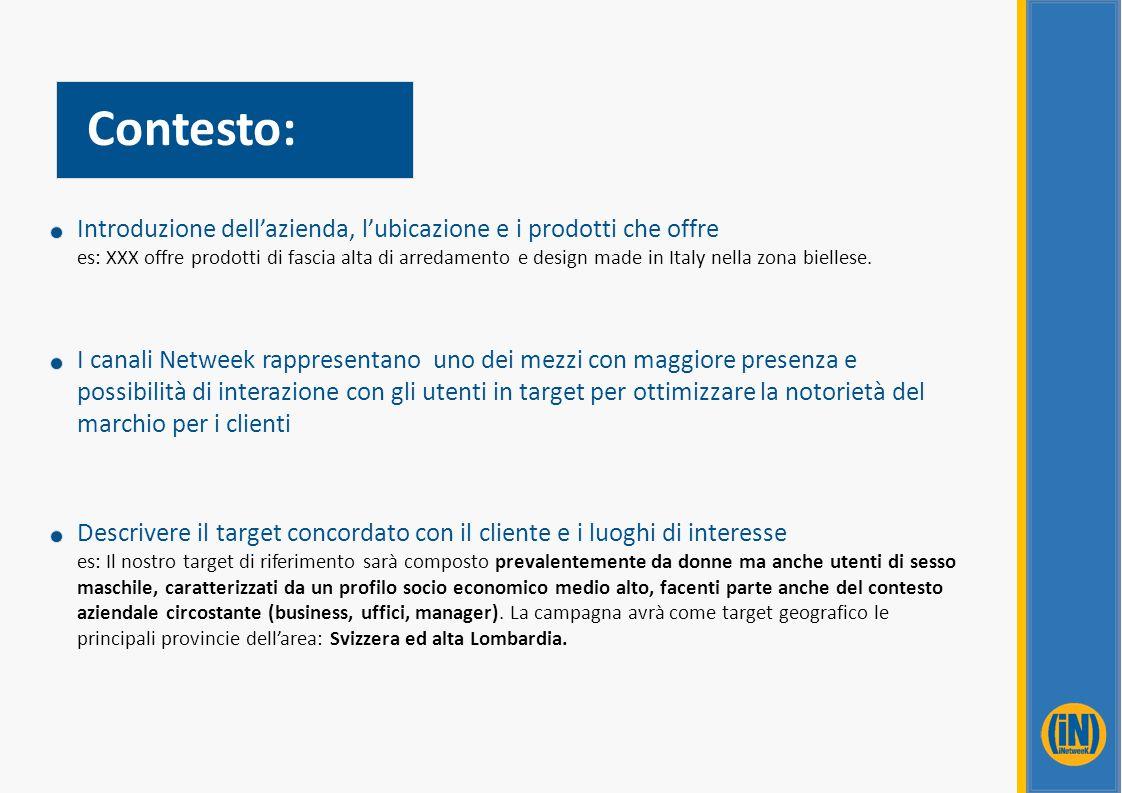 Contesto: Introduzione dell'azienda, l'ubicazione e i prodotti che offre es: XXX offre prodotti di fascia alta di arredamento e design made in Italy n