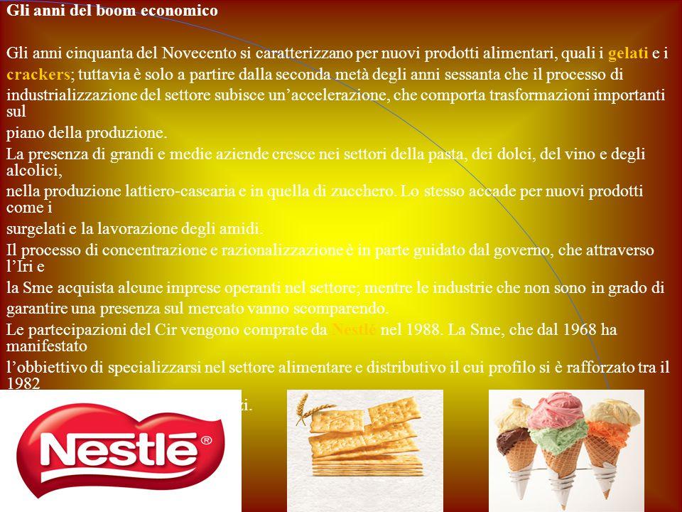 Gli anni del boom economico Gli anni cinquanta del Novecento si caratterizzano per nuovi prodotti alimentari, quali i gelati e i crackers; tuttavia è