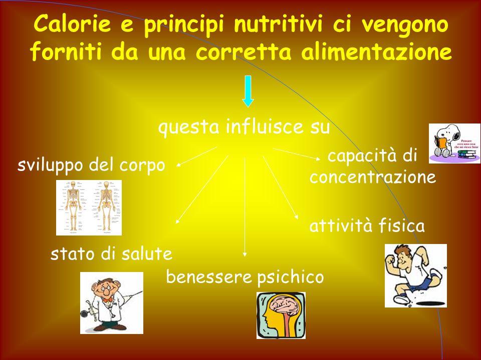 Calorie e principi nutritivi ci vengono forniti da una corretta alimentazione questa influisce su capacità di concentrazione attività fisica stato di