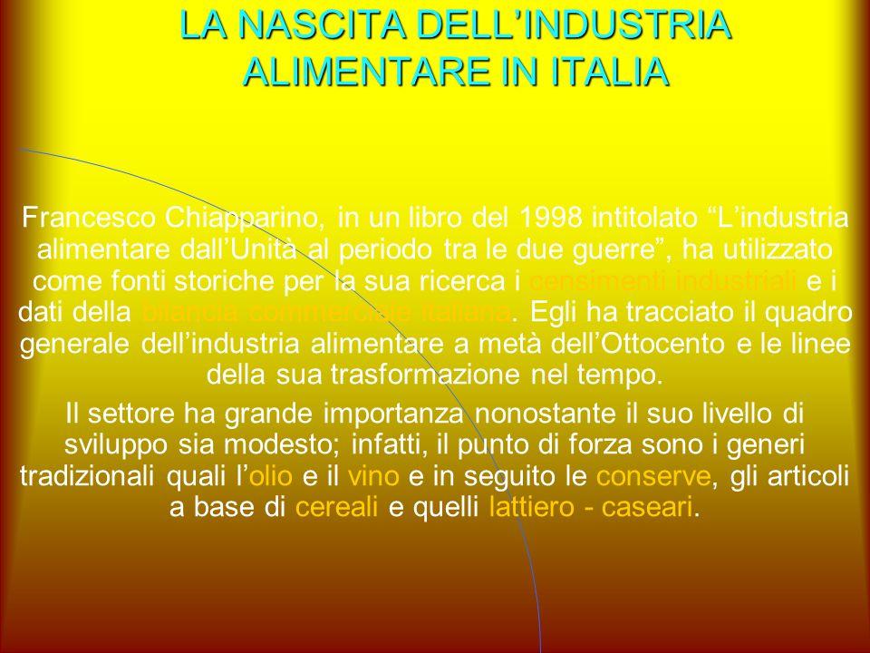 """LA NASCITA DELL'INDUSTRIA ALIMENTARE IN ITALIA Francesco Chiapparino, in un libro del 1998 intitolato """"L'industria alimentare dall'Unità al periodo tr"""