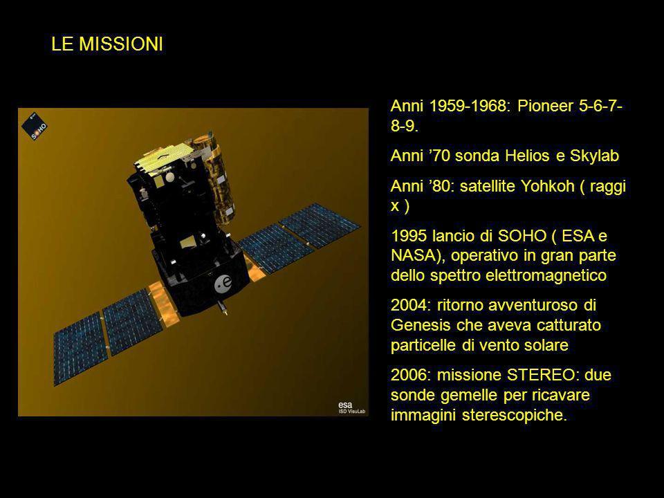 LE MISSIONI Anni 1959-1968: Pioneer 5-6-7- 8-9. Anni '70 sonda Helios e Skylab Anni '80: satellite Yohkoh ( raggi x ) 1995 lancio di SOHO ( ESA e NASA