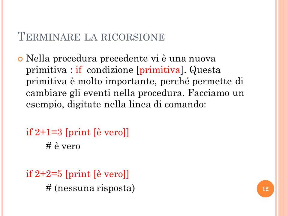 R ICORSIONE : F IOCCO DI N EVE DI V AN K OCH Utilizzando la ricorsione è molto semplice generare in Logo alcune semplici curve chiamate frattali in matematica.
