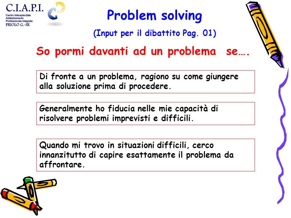 Di fronte a un problema, ragiono su come giungere alla soluzione prima di procedere. Generalmente ho fiducia nelle mie capacità di risolvere problemi
