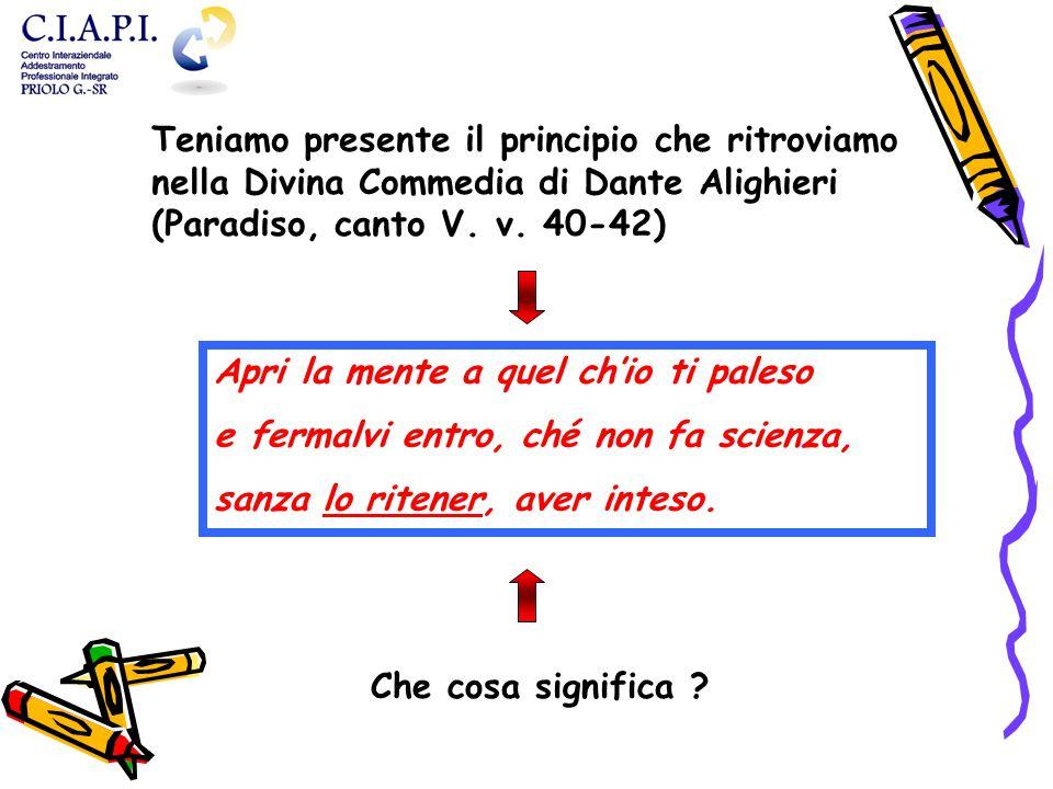 Teniamo presente il principio che ritroviamo nella Divina Commedia di Dante Alighieri (Paradiso, canto V. v. 40-42) Apri la mente a quel ch'io ti pale