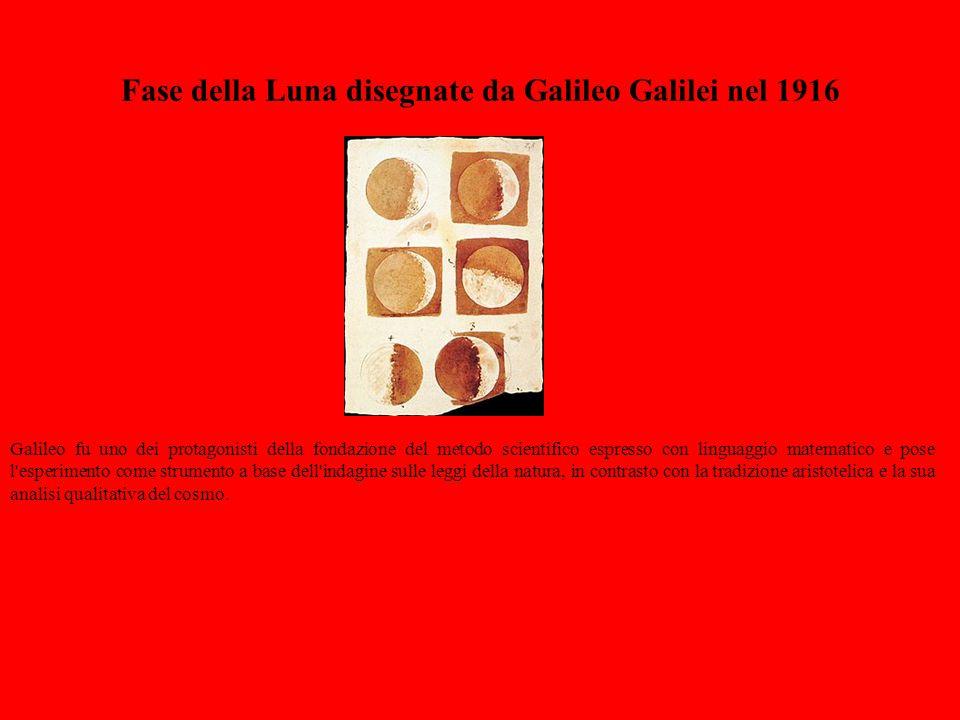 Fase della Luna disegnate da Galileo Galilei nel 1916 Galileo fu uno dei protagonisti della fondazione del metodo scientifico espresso con linguaggio