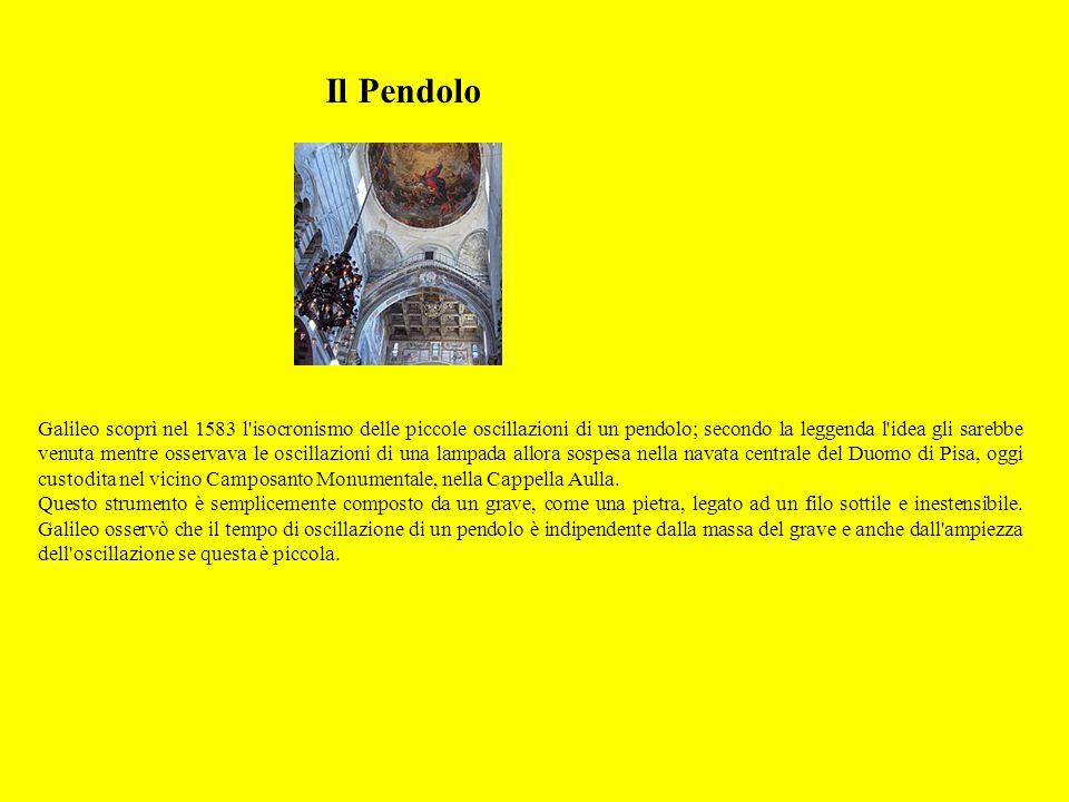 Il Pendolo Galileo scoprì nel 1583 l'isocronismo delle piccole oscillazioni di un pendolo; secondo la leggenda l'idea gli sarebbe venuta mentre osserv