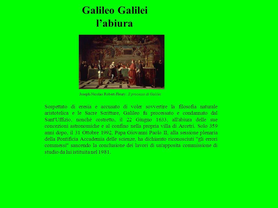 Galileo Galilei l'abiura Sospettato di eresia e accusato di voler sovvertire la filosofia naturale aristotelica e le Sacre Scritture, Galileo fu proce
