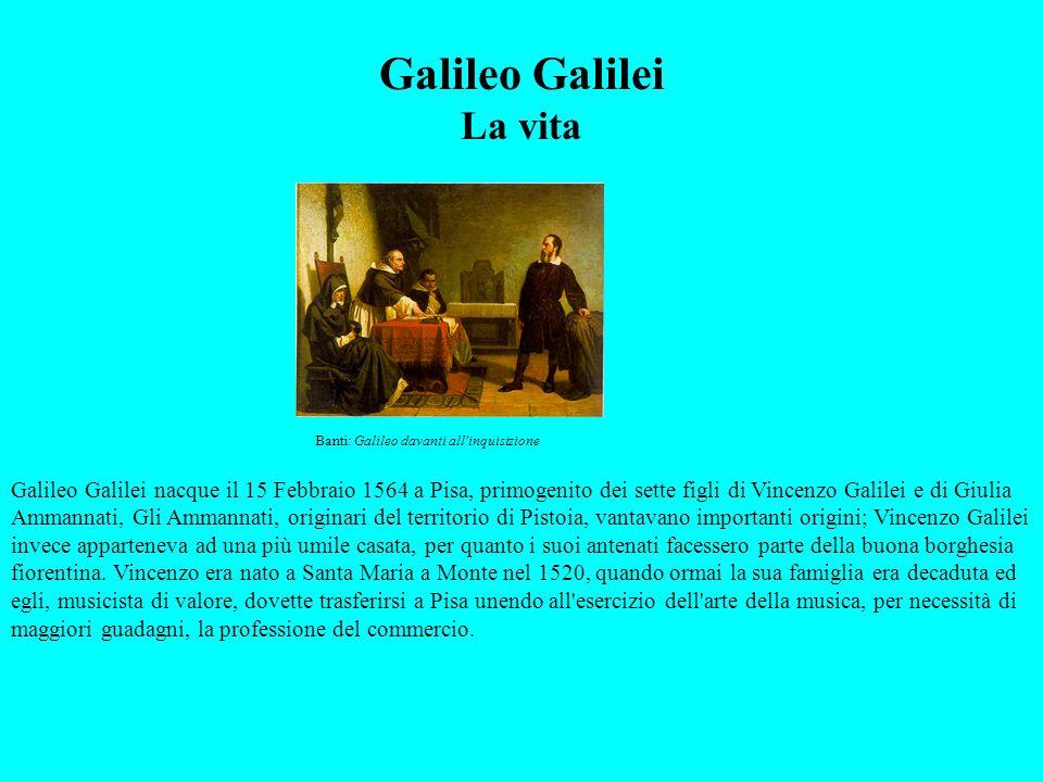 La giovinezza (1564-1588) La famiglia di Vincenzo e di Giulia, contava oltre Galileo: Michelangelo, che fu musicista presso il granduca di Baviera, e Benedetto, morto in fasce, e tre sorelle, Virginia, Anna e Livia e forse anche una quarta di nome Lena.