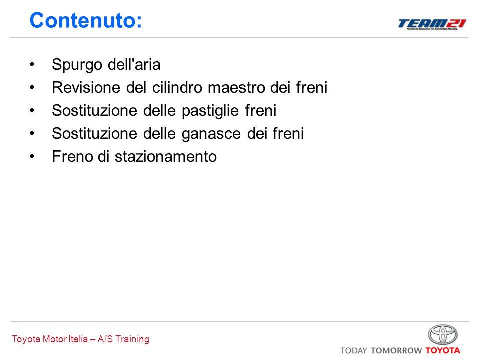 Toyota Motor Italia – A/S Training Spurgo dell'aria Revisione del cilindro maestro dei freni Sostituzione delle pastiglie freni Sostituzione delle gan