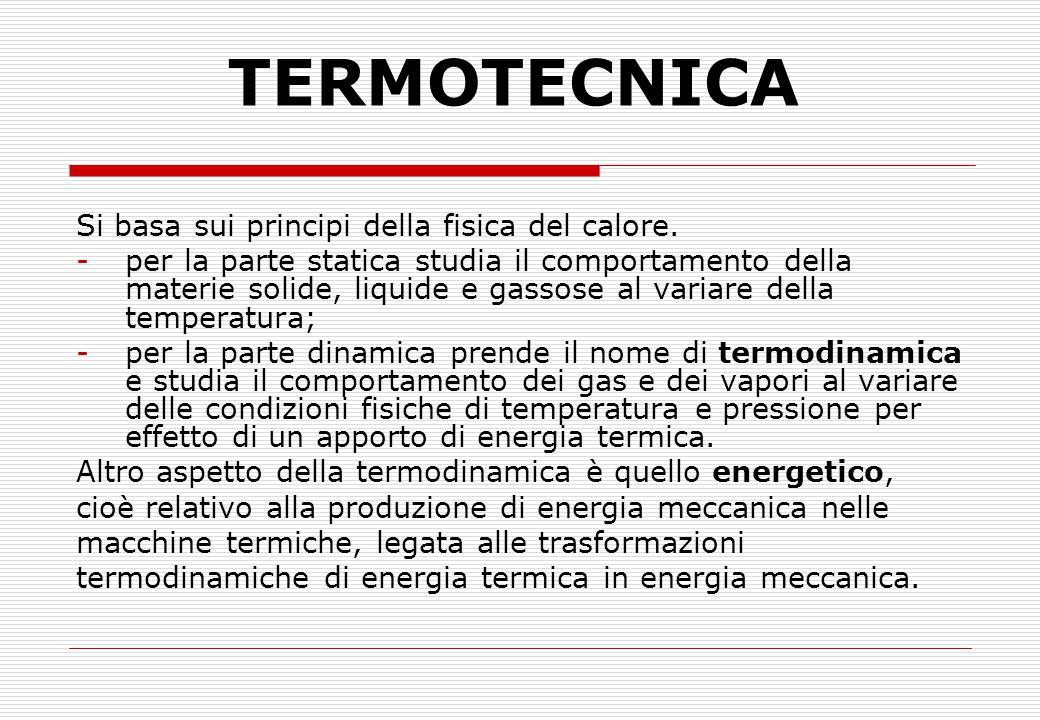 TERMOTECNICA Si basa sui principi della fisica del calore. -per la parte statica studia il comportamento della materie solide, liquide e gassose al va